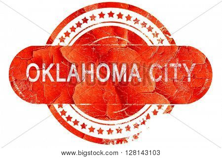 oklahoma city, vintage old stamp with rough lines and edges