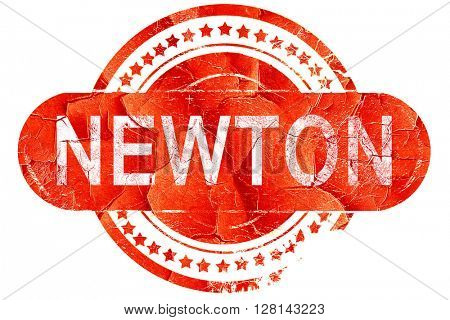 newton, vintage old stamp with rough lines and edges
