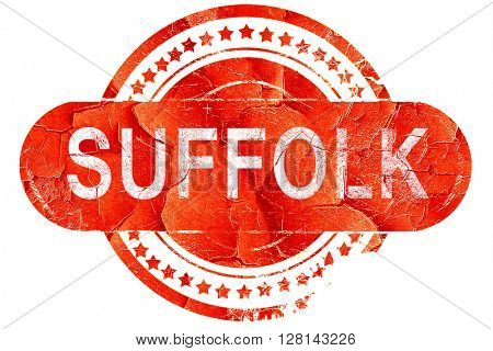 suffolk, vintage old stamp with rough lines and edges
