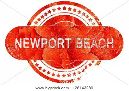 newport beach, vintage old stamp with rough lines and edges