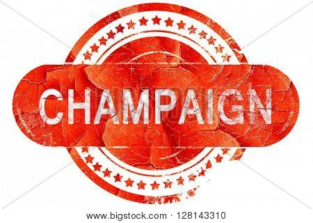 champaign, vintage old stamp with rough lines and edges