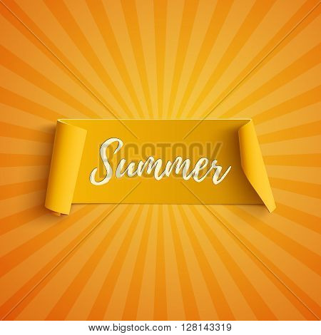Summer yellow curved banner, on orange background. Summer party template. Summer ribbon. Summer poster. Vector illustration.