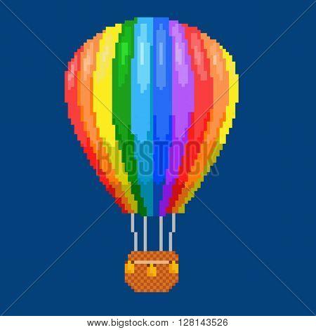 Air balloon (aerostat). Color pixel art vector illustration. Airline service