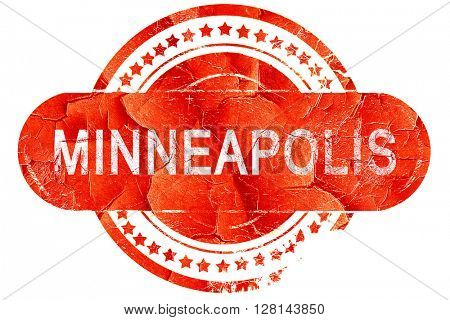minneapolis, vintage old stamp with rough lines and edges