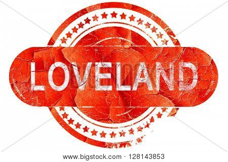loveland, vintage old stamp with rough lines and edges