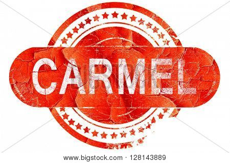 carmel, vintage old stamp with rough lines and edges