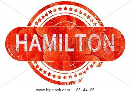 hamilton, vintage old stamp with rough lines and edges