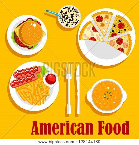 American cuisine with cheeseburger, french fries, served with sausages and ketchup, creamy pumpkin soup, pepperoni, seafood and vegetarian pizzas, iced latte topped with whipped cream and chocolate syrup