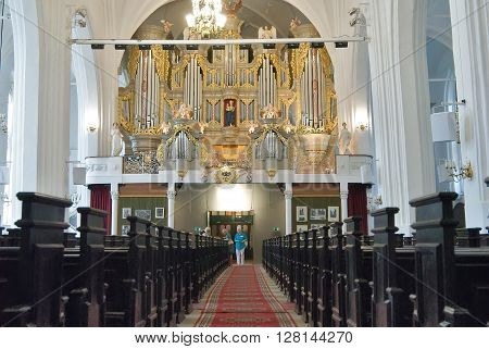 Kaliningrad, Russia - July 1, 2010: Inside view of cathedral hall with pipe organ on kant island