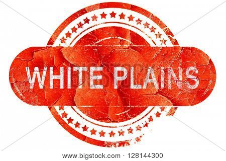 white plains, vintage old stamp with rough lines and edges