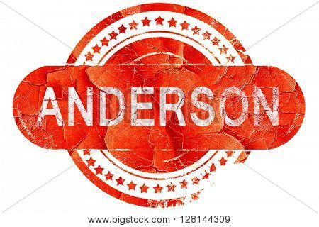 anderson, vintage old stamp with rough lines and edges