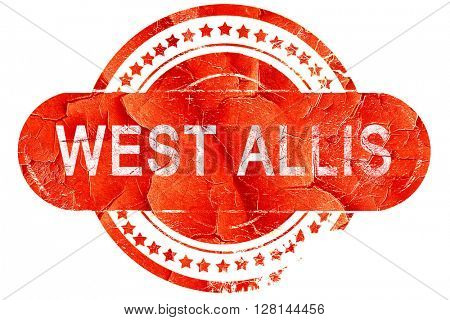 west allis, vintage old stamp with rough lines and edges