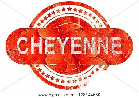 cheyenne, vintage old stamp with rough lines and edges