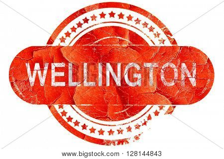 wellington, vintage old stamp with rough lines and edges