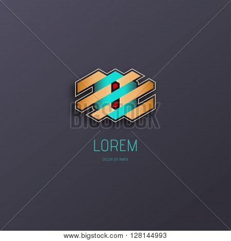 Combination of Letter E. Abstract Logo Design Template. Creative Concept Icon. Combination Hexagon and Stripe.