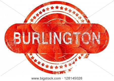 burlington, vintage old stamp with rough lines and edges