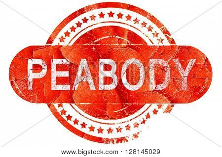 peabody, vintage old stamp with rough lines and edges