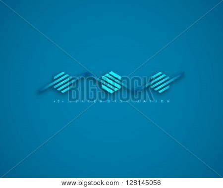 Combination of Letter S. Abstract Logo Design Template. Creative Blue Concept Icon. Combination Hexagon and Stripe.