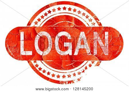 logan, vintage old stamp with rough lines and edges