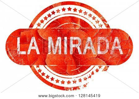 la mirada, vintage old stamp with rough lines and edges