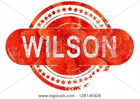 wilson, vintage old stamp with rough lines and edges