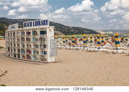 ALBENA BULGARIA - SEPTEMBER 7 2014 : Library on the beach in Albena. Luxury resort near Varna Bulgaria