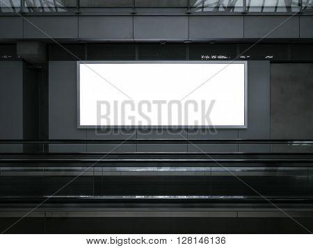 Blank Light Box Mock up Billboard Banner Indoor Subway Escalator