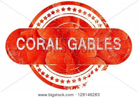 coral gables, vintage old stamp with rough lines and edges