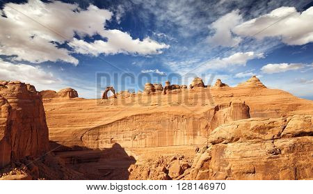 natural arch and rock formations in Arches national Park