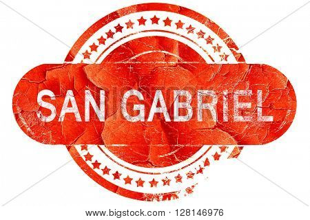san gabriel, vintage old stamp with rough lines and edges