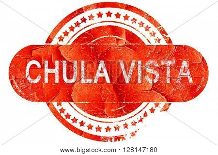 chula vista, vintage old stamp with rough lines and edges