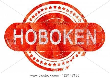 hoboken, vintage old stamp with rough lines and edges