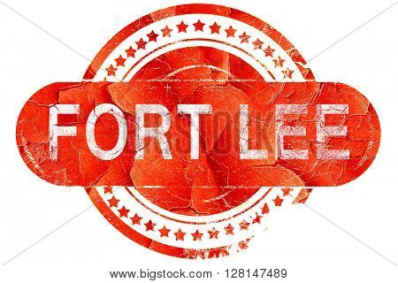 fort lee, vintage old stamp with rough lines and edges