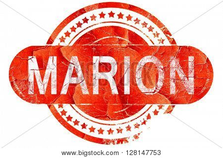 marion, vintage old stamp with rough lines and edges