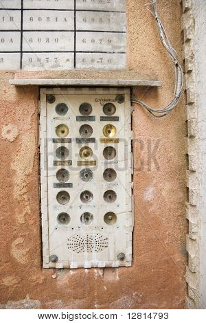 Doorbell box for apartment building in Venice, Italy.