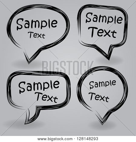 Simple black and white speech bubble frames with copy space.