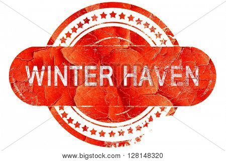 winter haven, vintage old stamp with rough lines and edges