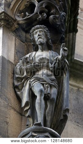 TUBINGEN, GERMANY - OCTOBER 21: Saint John the Baptist, Collegiate Church of St. George in Tubingen, Germany on October 21, 2014.