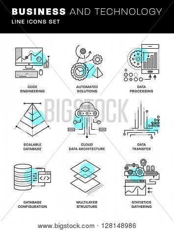 Thin Line Icons Set. Simple Linear Pictogram Collection for Web Design. Stroke Logo Concept Pack. Big Data Structure, Database Architecture, Data Science Technology Concept. Vector Illustration