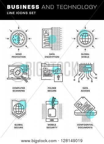 Thin Line Icons Set. Simple Linear Pictogram Collection for Web Design. Stroke Logo Concept Pack. Computer, Data, Payments Security. Confidential Messages Encription. Vector Illustration