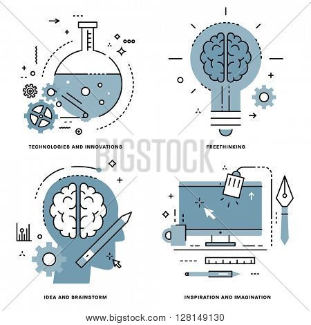 Flat Line Vector Set. Technologies and Innovations, Idea and Brainstorm, Freethinking, Inspiration and Imagination Concepts.