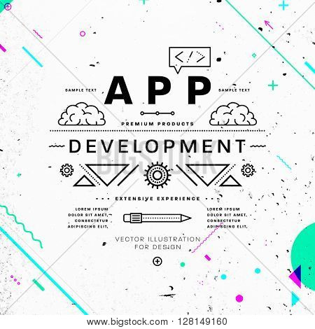App Development Typographic Label Concept. Thin Line Flat Style for Business Logo, Posters, Placards, Presentations and Websites Design. Concrete Wall Texture