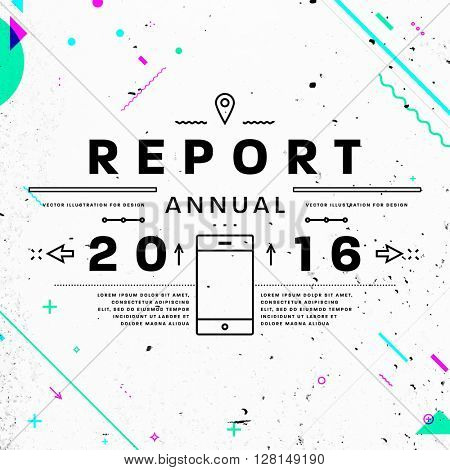 Annual Report Typographic Label Concept. Thin Line Flat Style for Business Logo, Posters, Placards, Presentations and Websites Design. Concrete Wall Texture