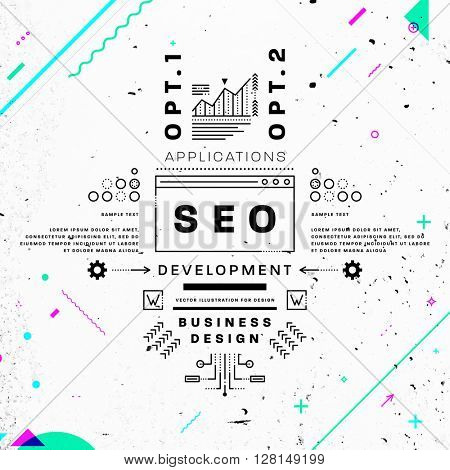 Search Engine Optimization, SEO Typographic Label Concept. Thin Line Flat Style for Business Logo, Posters, Placards, Presentations and Websites Design. Concrete Wall Texture