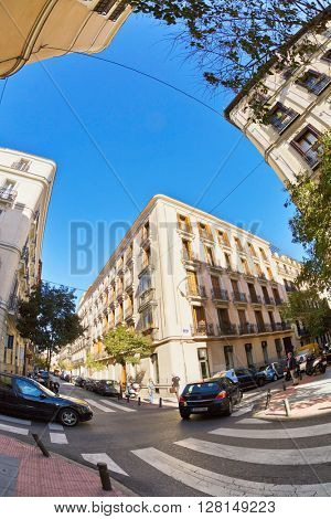 MADRID, SPAIN - NOVEMBER 11, 2015 : One of the quietest central streets of the old architecture in Madrid