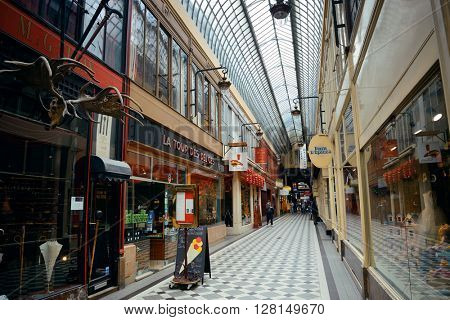 PARIS, FRANCE - MAY 13: Passage Jouffroy street view on May 13, 2015 in Paris. With the population of 2M, Paris is the capital and most-populous city of France