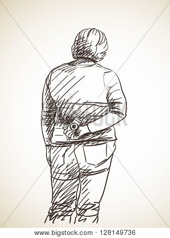 Sketch of woman standing and holding photo camera behind her back, Hand drawn illustration