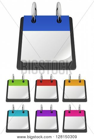 Blank tear-off calendar template in variety of colors 3D illustration.