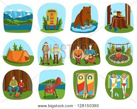 Camping equipment people summer outdoor vacation vector illustration.