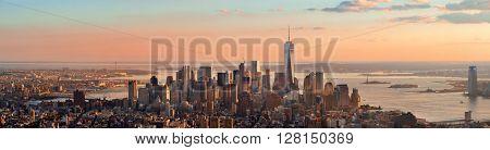 New York City downtown skyline panoramic view at sunset.